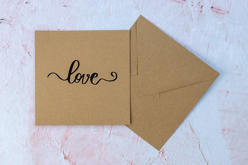 Love Calligraphy Stencil Eco-Friendly Handmade Recycled Recyclable