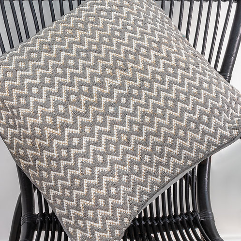 Eco-Friendly Recycled Cotton & Natural Jute Zigzag Cushion Cover