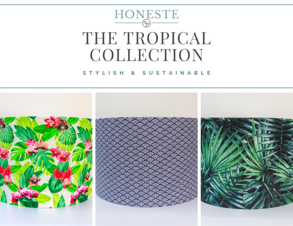 Organic Eco-Friendly Tropical Drum Lampshades