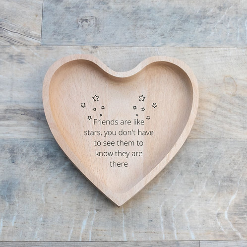 Friendship heart shaped wooden engraved gift eco-friendly sustainable poem