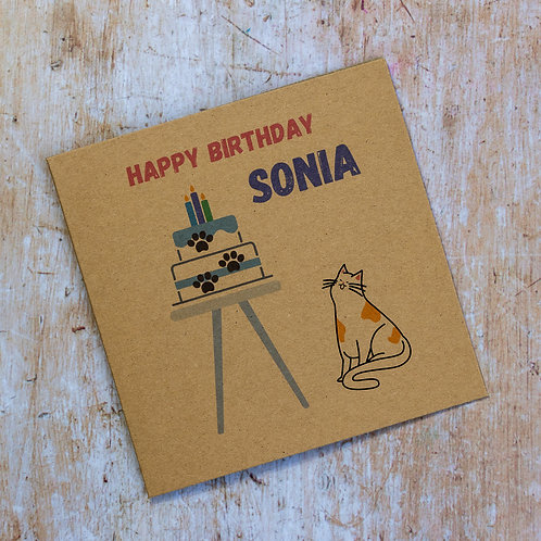 Personalised cat and cake recycled birthday card eco-friendly handmade