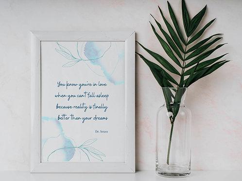 Dr Seuss Romantic Quote Wall Art Print A4 A3 Eco-Friendly Print