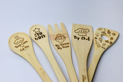 Personalised fun engraved solid wooden eco-friendly food safe spoon utensils