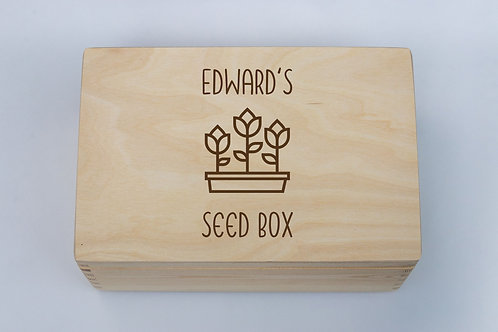 Personalised engraved seed and gardening box eco-friendly pine solid wood