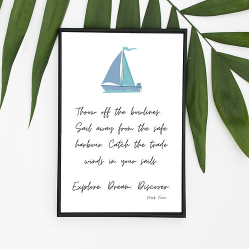 Eco Friendly Inspirational Mark Twain Wall Art Print Picture Ethical FSC Photo Handmade Sailing Inspirational Quote
