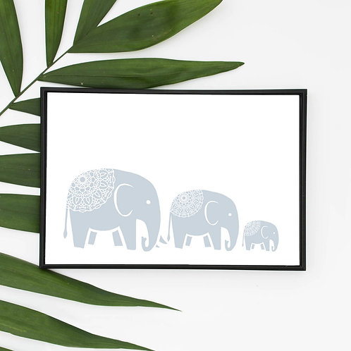 Eco Friendly Elephant Family Wall Art Print FSC Certified Mandala Handmade