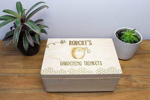 Personalised Gardening Accessories Box Eco-Friendly Handmade Zero-Waste