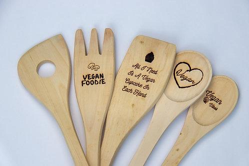 Vegan spoon set engraved personalised wooden eco-friendly cooking utensils