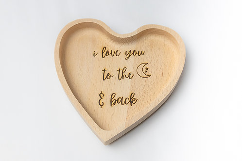 i love you to the moon and back sustainable beechwood engraved heart-shaped tray