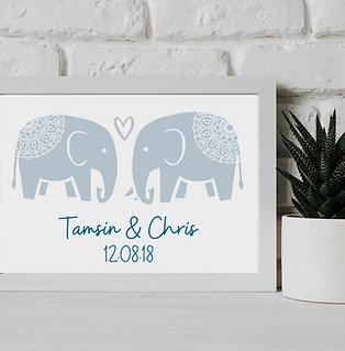 Mandala Elephants In Love - Wall Art Print