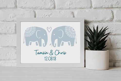 Mandala Elephants In Love - Wall Art Print Eco-Friendly Sustainable Charitable Personalised