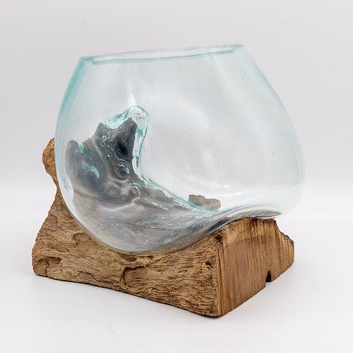 Fairtrade Handmade Balinese Reclaimed Glass & Teak Bowl