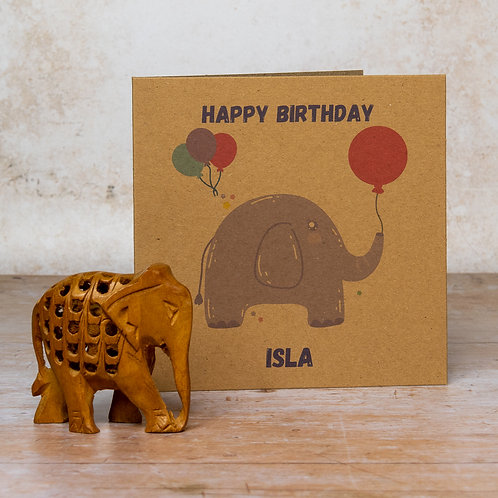 Personalised elephant kids recycled birthday card eco-friendly handmade