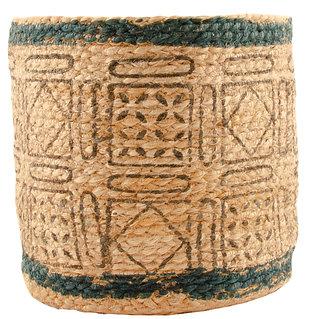 Handmade Natural Woven Planter - Geometric