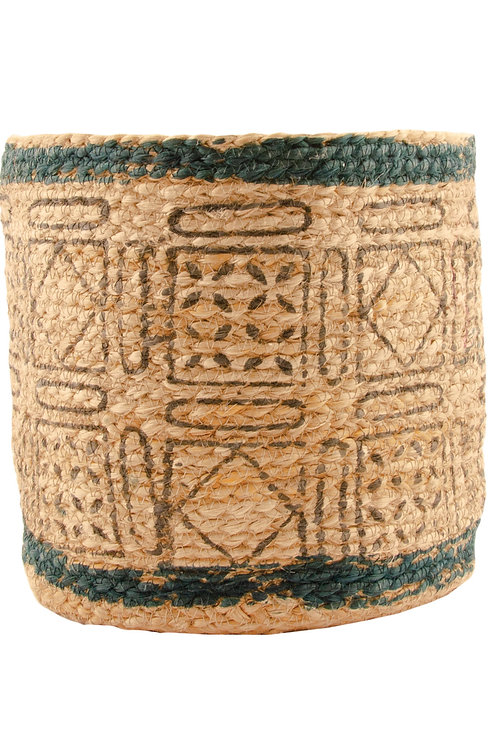 Handmade woven jute natural fibre hand-printed planter - eco-friendly