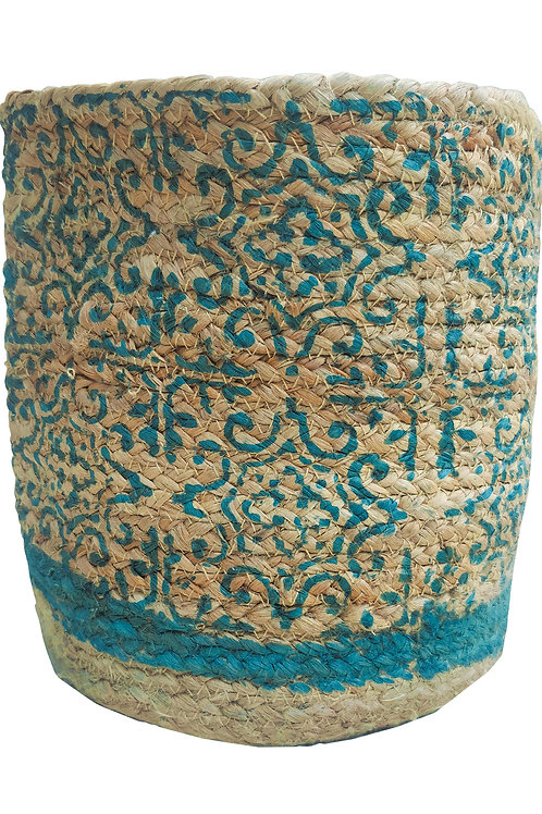 Block printed Moroccan design blue eco-friendly sustainable planter