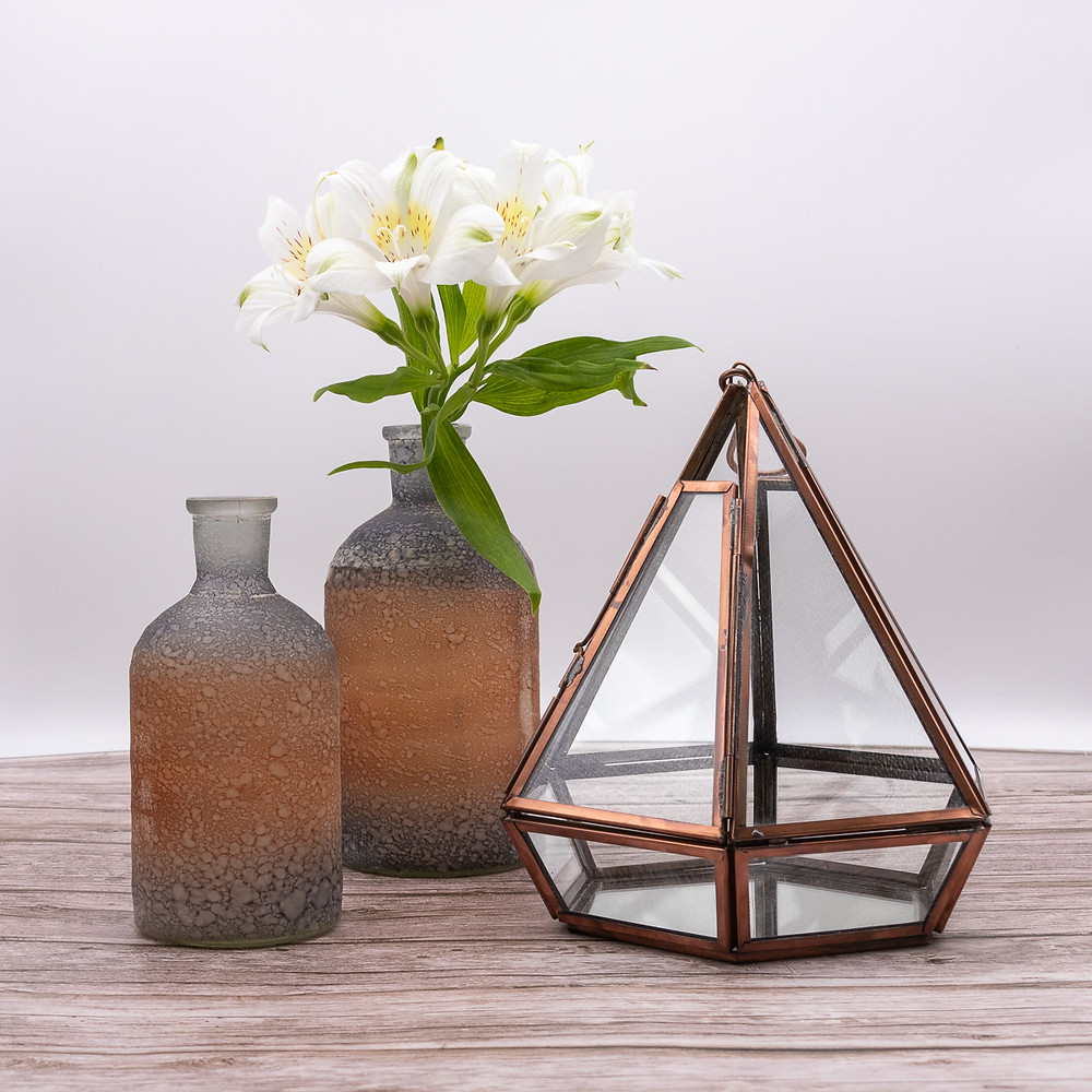 Eco-Friendly Fairtrade Recycled Glass and Copper Geometric Terrarium
