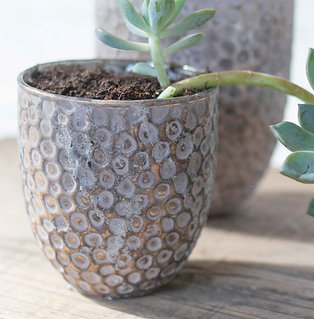 Fair Trade Recycled Glass Candle Holder / Small Planter