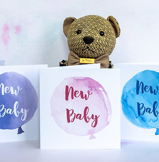New Baby Balloon Card - Pink, Purple or Blue