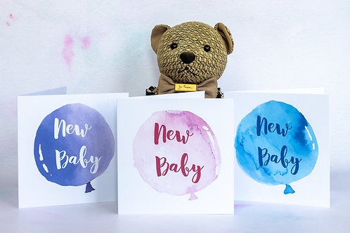 New Baby Balloon Card - Pink, Purple or Blue - Handmade To Order