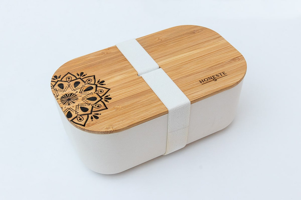 Mandala engraved eco-friendly green, sustainable, eco bamboo lunchbox container