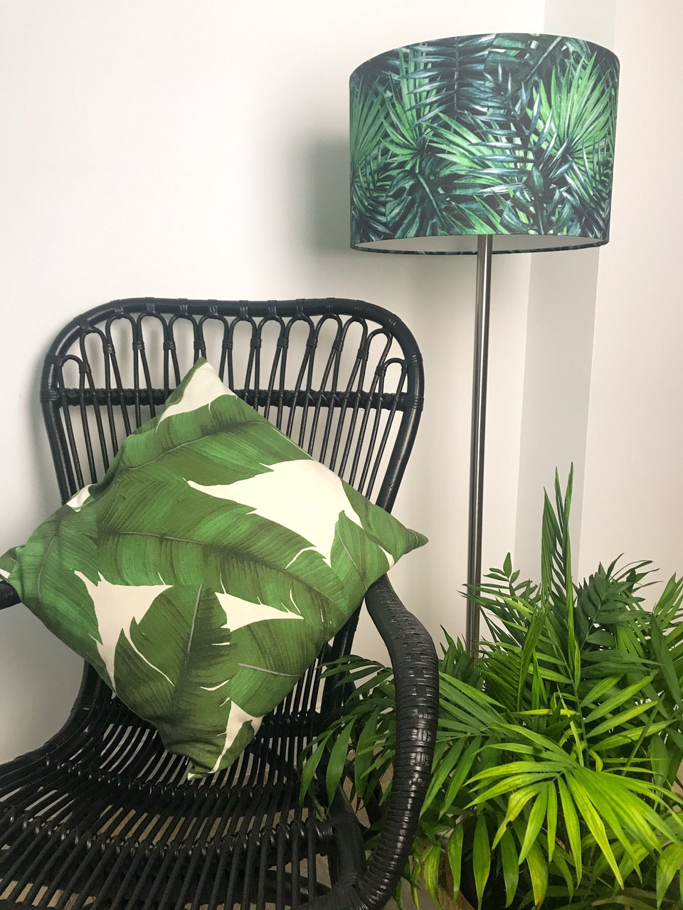 Tropical Drum Palm Leaf Lampshade