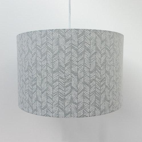 Recycled Cotton Fabric Grey Zig Zag Handmade Lampshade Eco-Friendly Drum