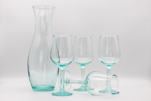 Mediterranean Recycled Green Glass Red, White Rose Wine Glass and Carafe Set