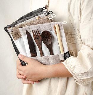Organic Handmade Dark Wood Travel Cutlery Set