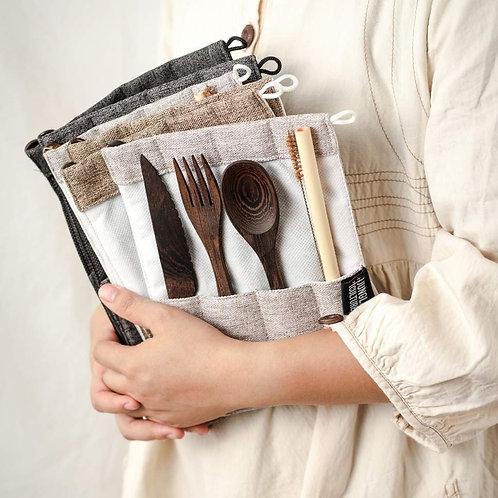 Organic Handmade Dark Wood Travel Cutlery Set Zero-Waste Plastic Free