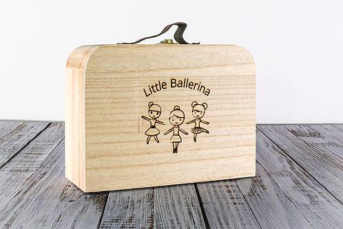 Little Ballerina for her girls handmade wooden trinket keepsake box suitcase handmade engraved