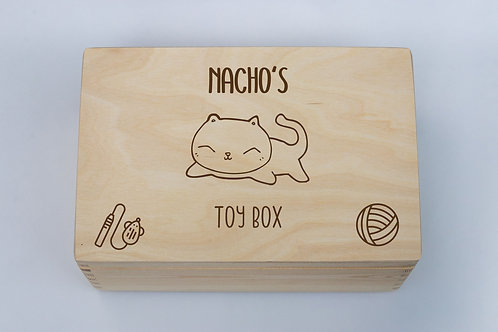 Personalised Cat Toy Box handmade eco-friendly solid pine large hinged