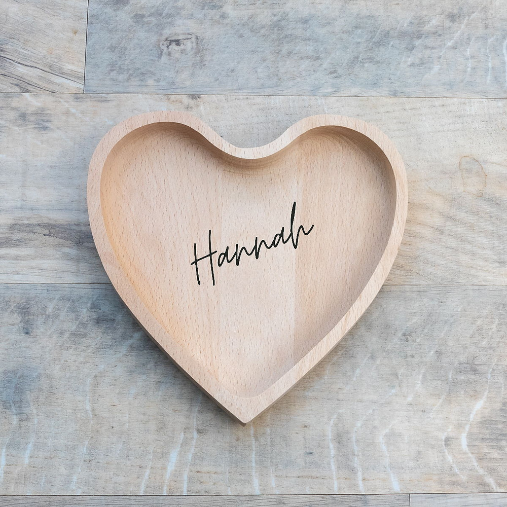 Personalised Engraved Beechwood Natural Wooden Heart Shaped Tray