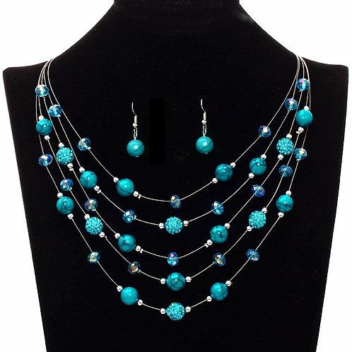 parure de bijoux fantaisies perles bleues