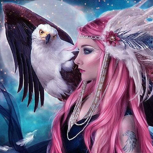 Femme et aigle