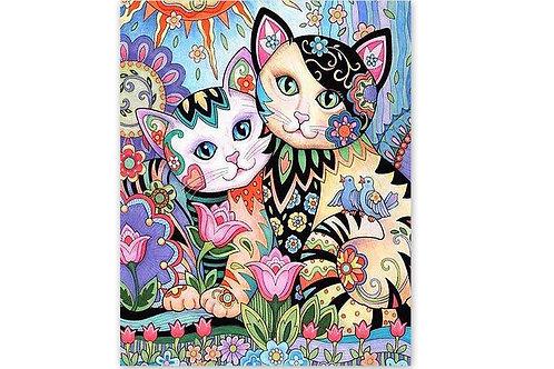 les chats fleurs