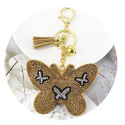 porte clés strass or papillon