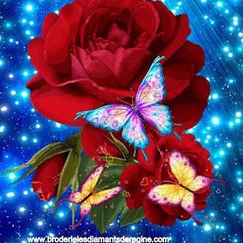 rose rouge et papillons