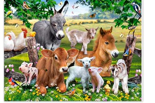 Les animaux de la ferme heureux