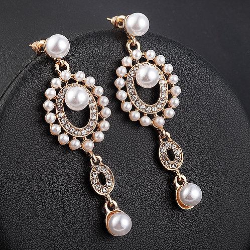 Boucles d'oreilles perles et dorées