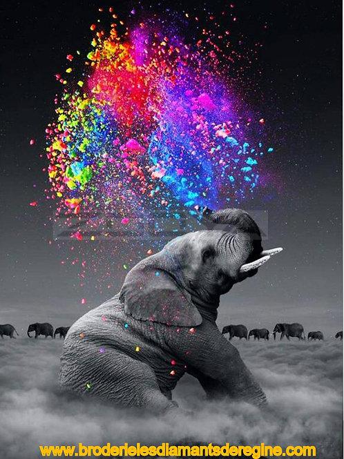 l'éléphant à la trompe multicolore