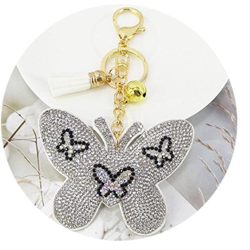 porte clés strass argent papillon