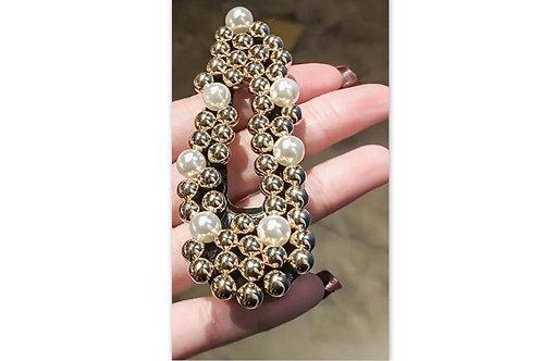 barrette cheveux dorée, perles dorées et perles