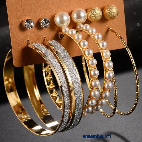 6 paires de bijoux fantaisies N°1