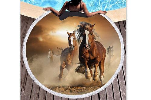 Grande serviette de plage chevaux