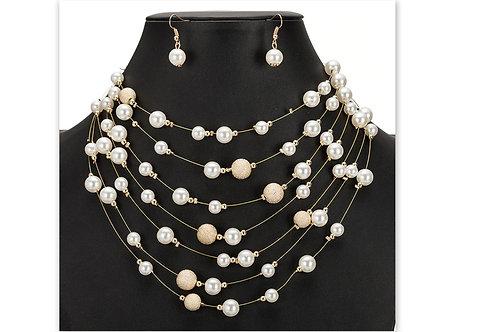 parures de bijoux fantaisies perles et perles dorées