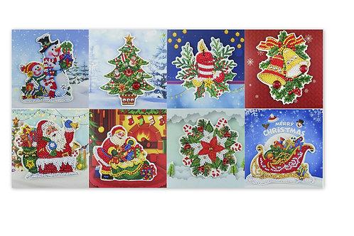 8 cartes de Noel à faire en broderie diamant