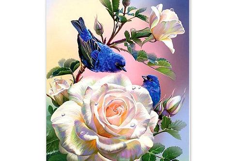 Oiseaux et roses