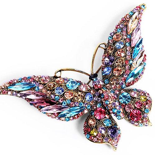 broche papillon strass multi couleurs