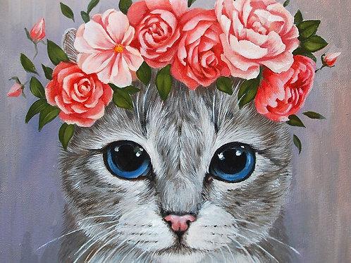 Minou et sa couronne de fleurs